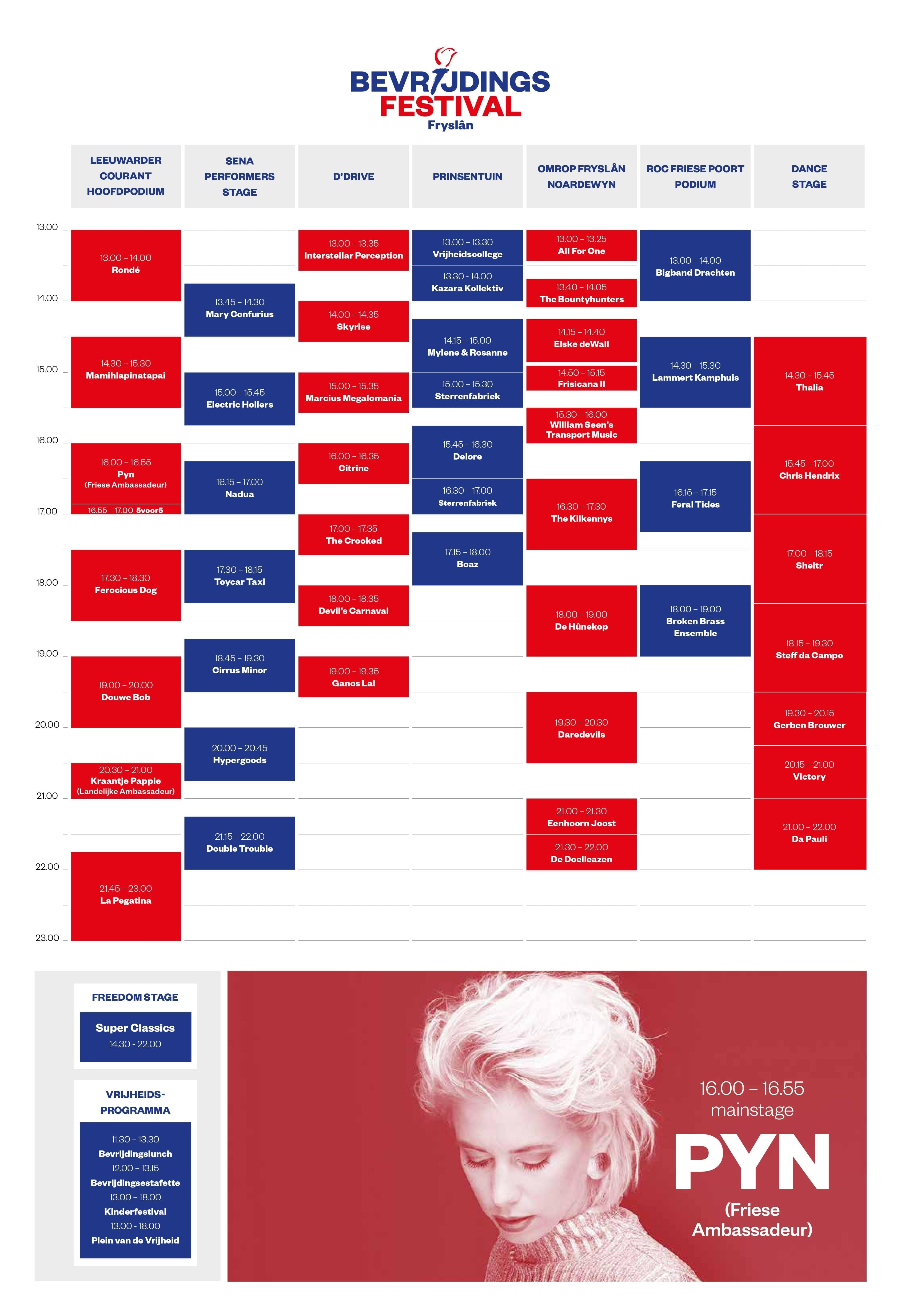 blokkenschema bevrijdingsfestival fryslan